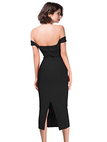 Alice & Elmer Women's Rayon Off-The-Shoulder Bandage Bodycon Vestito Vestiti Black