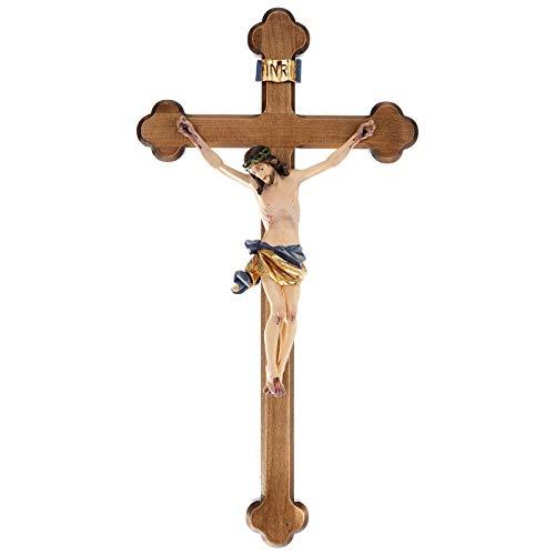 Holyart Kruzifix mit dreilappigen Kreuz Grödnertal Ahornholz, 45 cm (17.73 inc.)