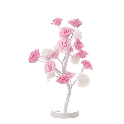 OOFAY Lampada da Tavolo Regolabile con Luce Diurna A Fiore Rosa con 24 LED per La Decorazione Domestica/Natale / Festa/Festival / Matrimonio,Pink