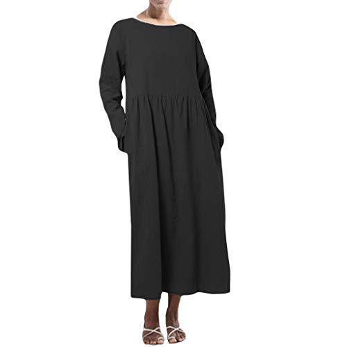 Übergröße Kostüm Urlaub - Overdose Damen Freizeit Kleider Blusenkleider Lässige Rundhals Einfarbig Casual Urlaub Sommerkleider Strandkleid Midi Dress Frauen kostüme übergröße