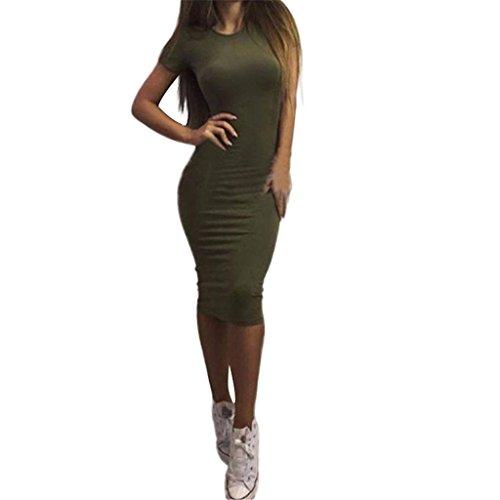 Wickelkleid Goosun Mode Sexy Kurzarm Schlank Kleid Damen Elegant Bodycon Sommerkleider Cocktailkleid Bleistiftkleid Enge Abendkleid Knielange Moderne Kleider Atmungsaktive Baumwolle(Grün,M)