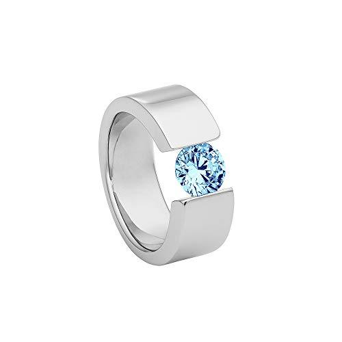 Heideman Ring Damen Turris aus Edelstahl Silber farbend poliert Damenring für Frauen mit Swarovski Stein Zirkonia blau im Brillant Schliff 7mm
