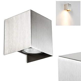 Wandleuchte MATERA in Nickel matt – Eckiger Down Strahler - Wandspot aus Metall – Zimmerlampe im hochwertigen Design – Wandleuchte mit indirektem Licht und GU10-Fassung – LED-fähig –Leselampe Wand