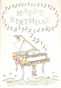 Floral Grand Piano Happy Birthday Greetings Card