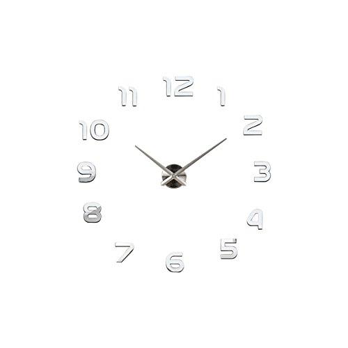 UNIQUEBELLA Wanduhr Riesige Spiegel Wanduhr Vinyl DIY Ø 130cm Große XXL Design Uhr küchenuhr Quarzuhr Analoguhr