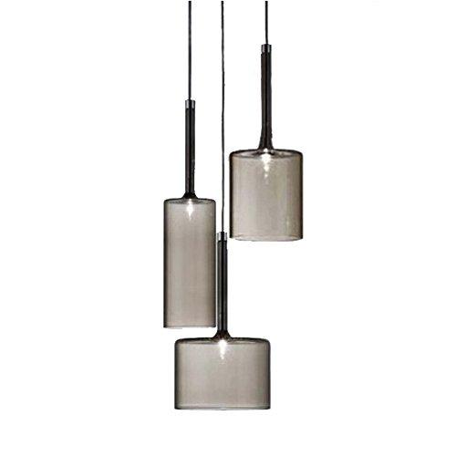 MZStech Set 3 Licht Einfache Deckenleuchte Morden Pendelleuchte mit Glas Lampenschirm Basis G4 Glühbirne (Grau) (3-licht Pendelleuchte)
