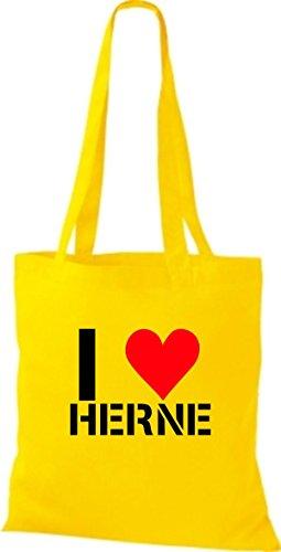 ShirtInStyle Stoffbeutel I LOVE HERNE Deine Stadt diverse Farbe sunflower