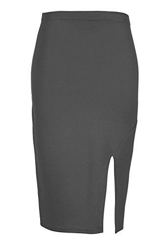 Oops Outlet pour femmes côté fente Split Smart décontracté Tube crayon adapté Wiggle bodycon extensible fête Jupe Midi Taille plus UK 8–26 Charbon