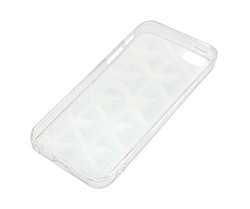 Lilware Imprint Étui Flexible En Gel TPU Sangle Portable Incluse, Radiant Carbon Black, Apple iPhone Se / 5 / 5S Metallic Grid Silver