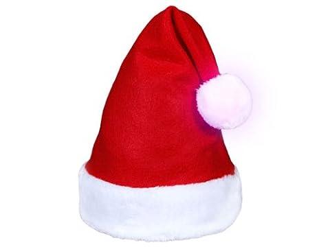 Bonnet de Père mère Noël (wm-114) Pompon lumineux qui change de couleur avec bouton on/off et un large bord en péluche très classe