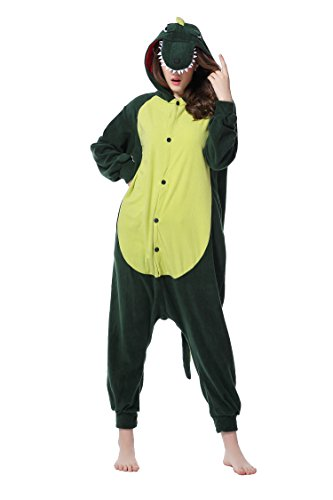 DAN SPEED - Anime Costume Cosplay Combinaison Grenouillères Vêtements de nuit (XL(178-185cm), vert foncé dinosaure) (Veste Costume Dessin)