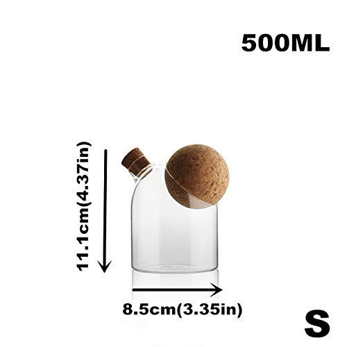 Contenitore per alimenti in vetro creativo contenitore per spezie con coperchio in sughero lattine per prodotti sfusi conservazione del caffè scatola di immagazzinaggio in cucina 500 mlball