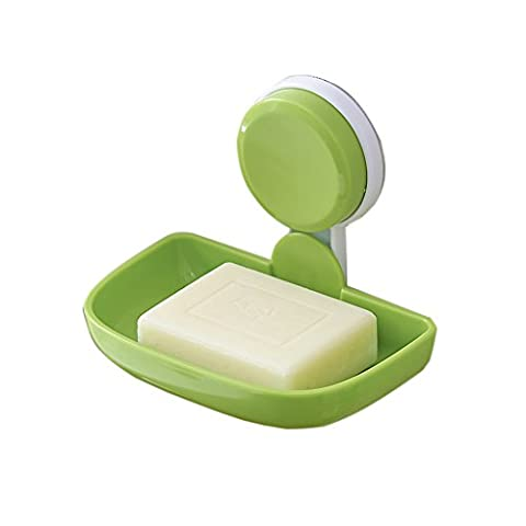 Labkiss Soap Dish Holder, Super Power Vacuum Suction Cup Wall Mounted Storage Soap Saver, No Drill, Waterproof, Reusable, Bathroom Shower Accessories,Green,