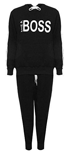 68553b5c2b0d Islander Fashions Frauen wie Boss Print Kapuzen-Sweatshirt Trainingsanzug  Damen Loungewear Jogging Anzug schwarz EU 54-56
