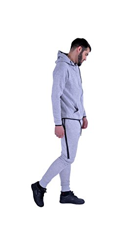 Mens Plain Designer Hooded Tracksuit Zipper Jogging Bottom TS003