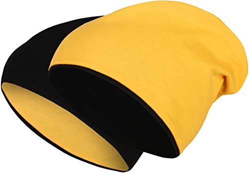 2 in 1 Wendemütze - Reversible Slouch Long Beanie Jersey Baumwolle elastisch Unisex Herren Damen Mütze Heather in 24 (8) (Black/Yellow)
