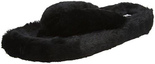 Boux Avenue Plush Flip Flop, Zapatillas de Estar por Casa para Mujer, Negro (Black 01BL), 38/39 EU