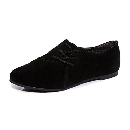 Zapatos para las mujeres,Ouneed ® Moda mujer niñas encaje plana cabeza abajo Casual zapatos (38, Negro)