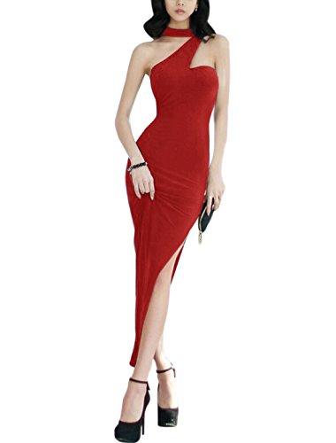 Damen Unregelmäßig Ausschnitt Ärmellos Split Saum Maxi Kleid Rot