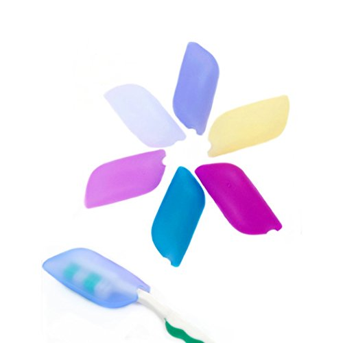 Amoyie Lot de 6 embouts de protection pour des brosses à dents classique et des têtes de brosse électriques, 100% sans BPA Porte- brosses à dents en silicone
