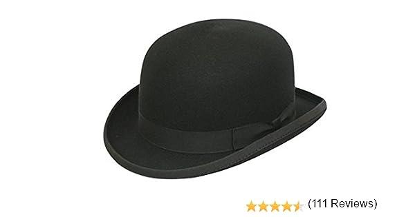 avec brosse de nettoyage Fabriqu/é /à la main Chapeau melon rond classique 100/% laine noir uni