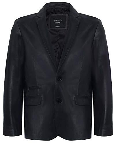 Infinity Leather Schwarzer Echtleder Herren Blazer Aus Weichem Echtem Italienischem Jahrgang Mantel XL (Brown-leder-blazer -)