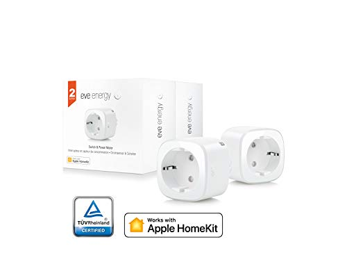 Elgato Eve Energy (x2 Set) - Sensore di Corrente ed Interruttore Wireless, Abilitato Apple HomeKit, Bluetooth Low Energy