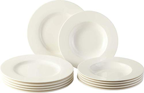 vivo by Villeroy & Boch Group Basic White Tafelservice, 12-teilig, Premium Porzellan, Weiß China Serveware-sets