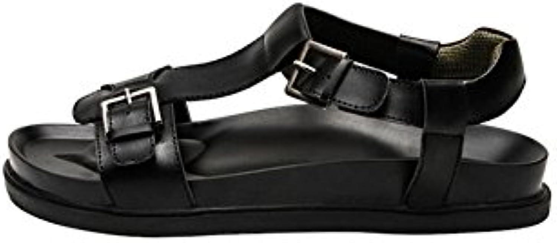 DALL Sandalen Ly 879 Freiliegende Zehe Herrenschuhe Schwarz Flache Sandalen Hausschuhe Strandschuhe Sommersaison