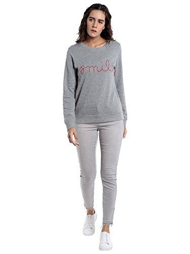 VERO MODA Damen Pullover Grau (Light Grey Melange Detail:Smile In Flame Scarlet)