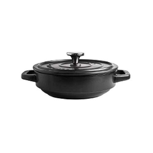 Pentole casseruola/zuppa pot- rivestimento smaltato antiaderente, 2l (nero)