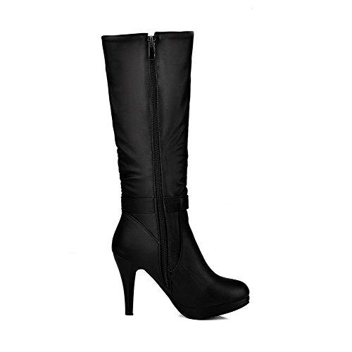 AllhqFashion Damen Hoher Absatz Rund Zehe Blend-Materialien Reißverschluss Stiefel,Schwarz,44