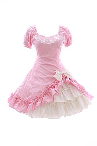 JL-572 rosa weiß Sweet Classic Gothic Lolita Kleid Rock Kostüm dress Cosplay (Stretch M-L) (Toy Story Toy Brust)
