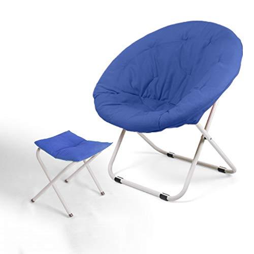 ZRKZ Liege Relaxer Recliner,Moon Chair Strandgarten Stuhl Niedrig Falten Leichtes Angeln Camping Outdoor Festival Sitz Plus Hocker,Blue-52 * 76 * 80cm
