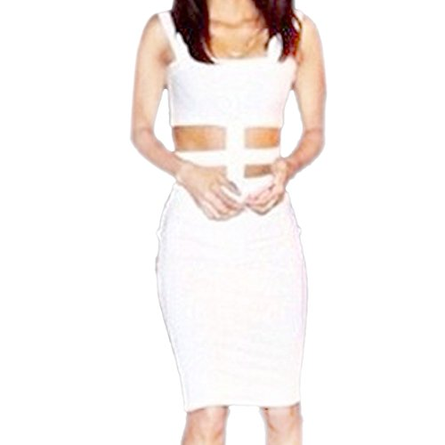 QIYUN.Z Neue Cocktail-Party Frauen Sexy Hot WeißEn Ärmellosen Bodycon Zwei Stück Midi-Kleid Damen Kleid Jumpsuit Overall Weiße