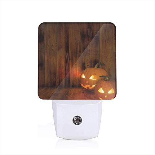 y Halloween Photograph In A Wooden Interior Fall Themed Image Plug-in LED Night Light Lamp with Dusk to Dawn Sensor, Night Home Decor Bed Lamp ()