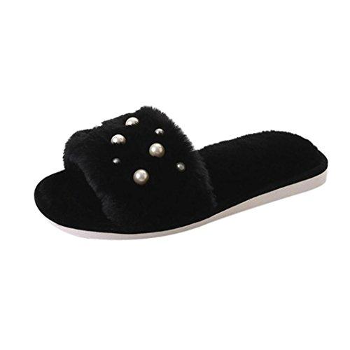 Perle Plüsch Hausschuhe, FEITONG Damen Bequeme Plain Gummi Sandalen Freizeit Rutschfest Hausschuhe (EU:39-40, Black) (Ballett-zehe-hausschuhe)