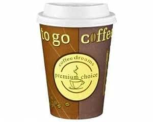 """Gobelets à café pour café à emporter avec couvercle, 12 oz, 300 ml, 50 pièces, utilisation universelle haute qualité, élégant et solide avec motif """"coffee dreams premium choice""""."""