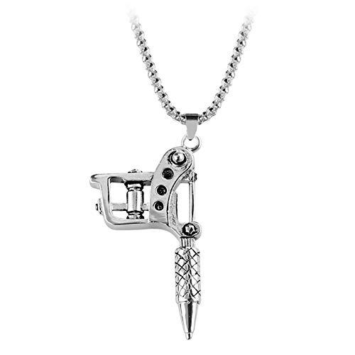 DTKJ Tattoo Werkzeugmaschine Anhänger Halskette Punk Vintage Halskette Für Frauen & Männer Hip Hop Rock Geschenk Schmuck Choker Halskette