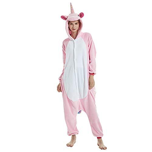 Yimidear Pyjama Erwachsene Einhorn Kostüm Tier Plüsch Einhorn Onesie Flanell Cosplay Kostüm Halloween für Erwachsene und Jugendliche (L, ()