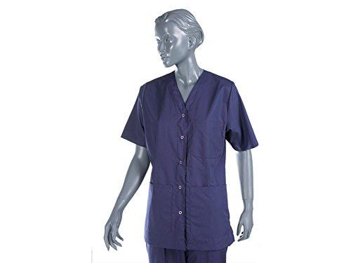 Krankenschwester tuinic Uniform mit Druckknöpfen für Unisex, Größe M, blau für Krankenschwestern, Therapeuten, Beauty, Gesundheit Care, Nail, SPA Limo (Kittel Einheitliche)