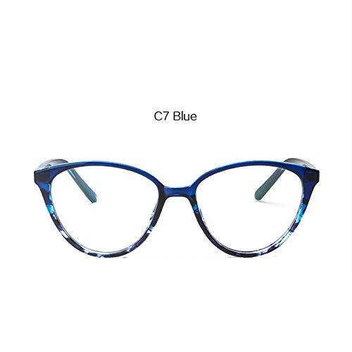 YMTP Katzenaugen-Glasrahmen-Frauen-Mode-Ultra Helle Transparente Optische Brillen-Damen-Flache Klare Linsen-Eyewear, Blau