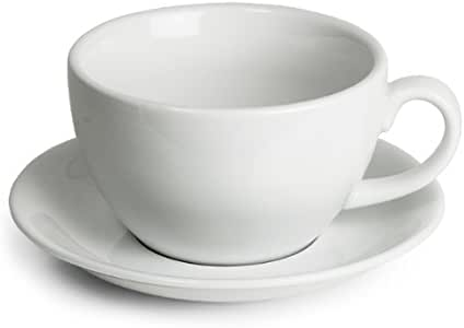 Royal Genware Bowl Cups & Saucers 12oz 340ml Set of 6 | Bowl Crockery Coffee Cups, Tea Cups, Cappuccino Cups, Porcelain Cups, White Cups with