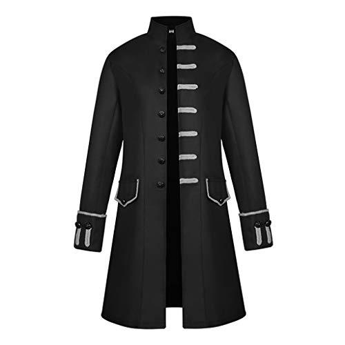 IPOTCH Chaqueta de Hombres Victoriano Levita Gótica Steampunk Apariencia Atractiva Tailcoat - Negro, L