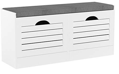 SoBuy FSR62-W Sitzkommode Schuhkipper mit Sitzfläche Schuhtruhe 2 Klappen mit Schuhfach Landhausstil Weiß BHT ca.: 97x46x30cm