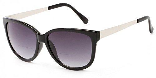 +1.50 Bifokal Sonnen Lesebrille Schawrz Frontal und Silber Tempel Übergroße Sonnenbrille 100% UV-Schutz Getönte Gläser Damen Zeitlos + Fall