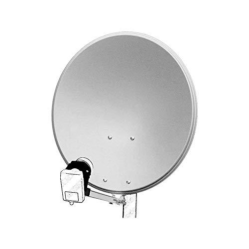 Goobay 67332 Parabola Satellitare in Alluminio da 60 cm, Grigio Chiaro
