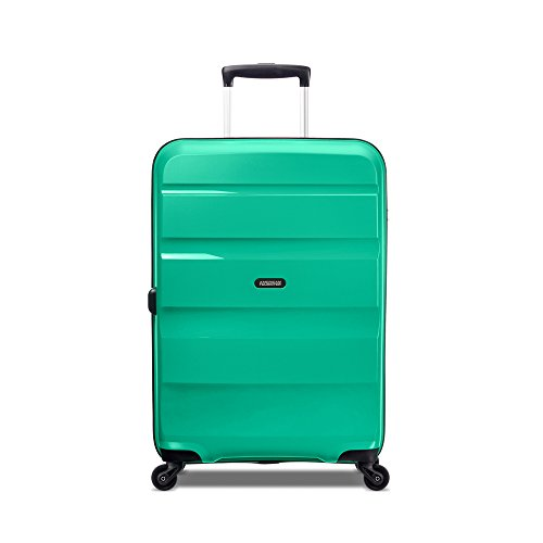 American Tourister Bon Air Suitcase Spinner 66cm Medium Emerald Green 4 Multidirectional Wheels Fixed 3 Digit TSA Combination Lock Address Label Locka...