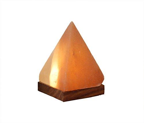 Himalaya Sel Dreams - beleuchteter Cristal Pyramide avec Socle en Bois, avec elektrik USB LED, USB pour Ordinateur et Ordinateur Portable