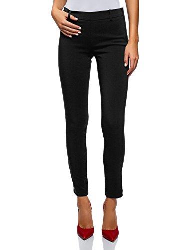 oodji Ultra Mujer Pantalones Ajustados con Cintura Elástica, Negro, ES 40 / M